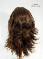 Medium Length Warm Brunette Flick Style Full Head Wig